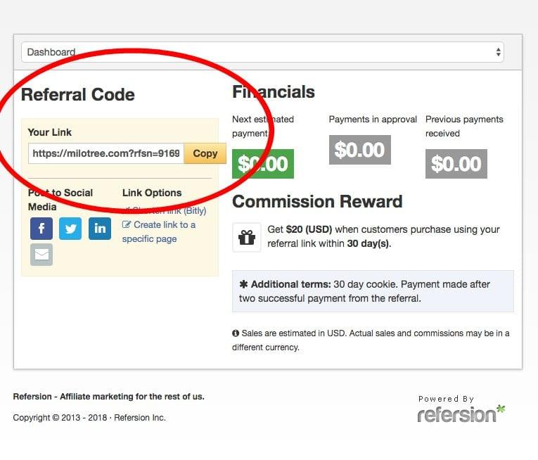 How to get your affiliate code | MiloTree.com