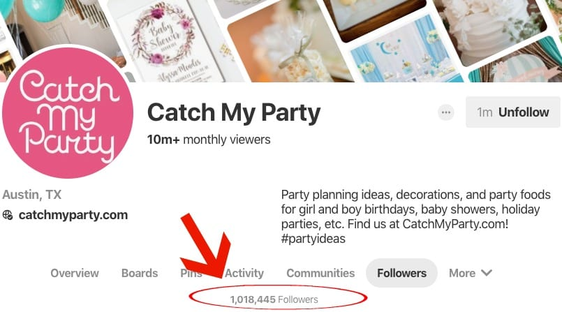 1 Million followers on Catch My Party Pinterest Page | MiloTree.com